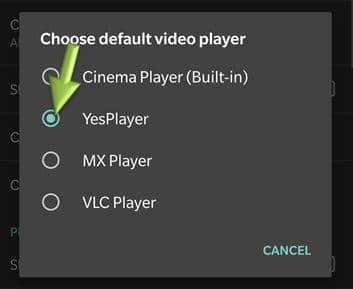 Choose default video player