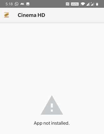 Cinema HD Not installed error
