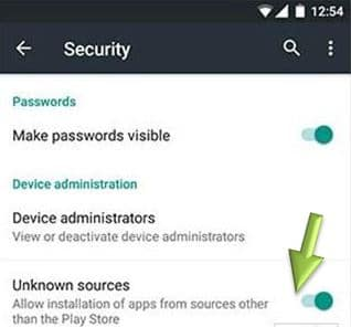 Enable Unknown Sources in Android security
