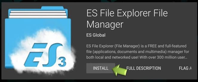 Install ES File Explorer on TV